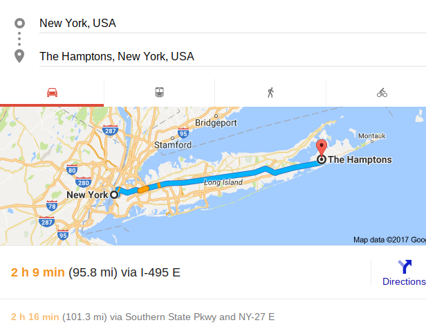Distance from New York to the Hamptons by car