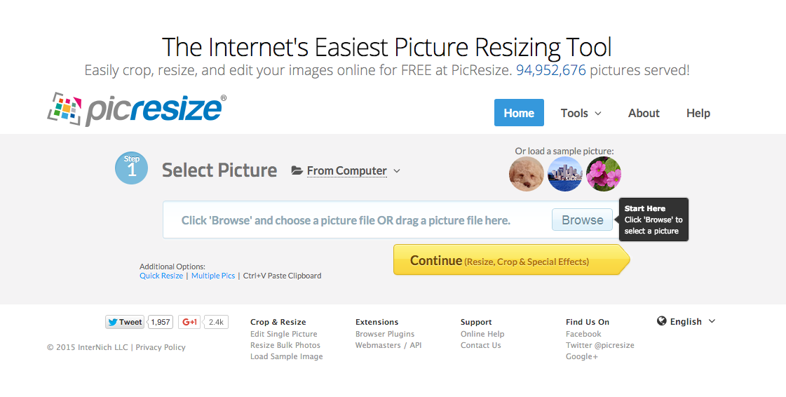 Resize pictures online for free with Picresize