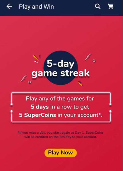 Play Any Games For 5 Days In Row & Get 5 Supercoin