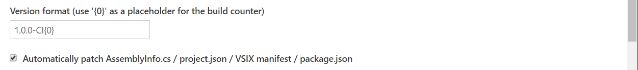 Set the version when you create a Nuget package