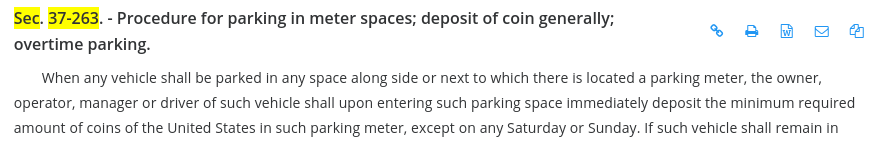 Wilmington parking code Sec. 37-263
