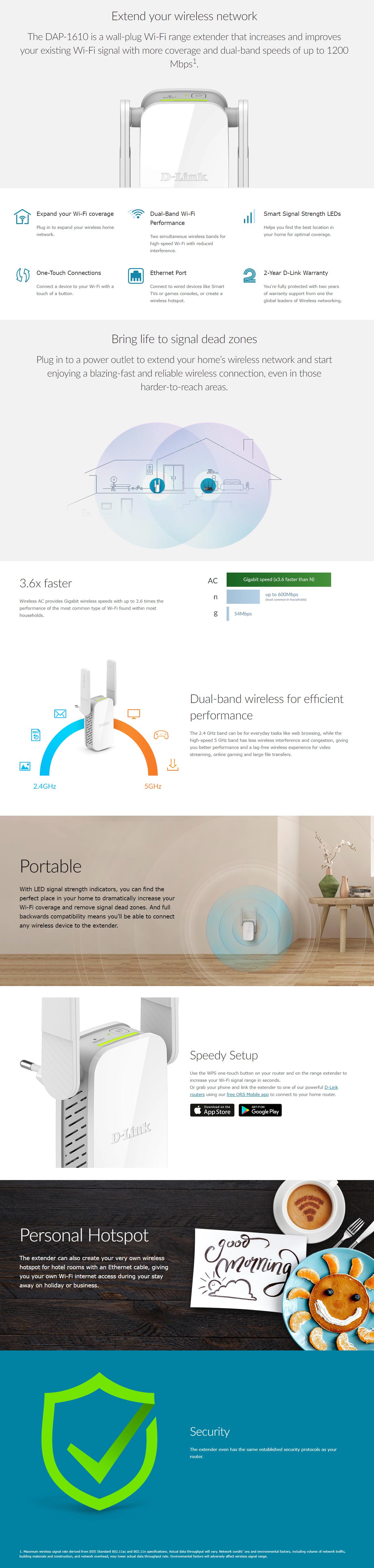 D-Link, AC1200 WiFi Range Extender, DAP‑1610 | NewEtrend com