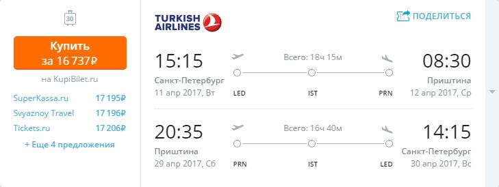Дешевые авиабилеты Санкт-Петербург - Приштина (Косово)