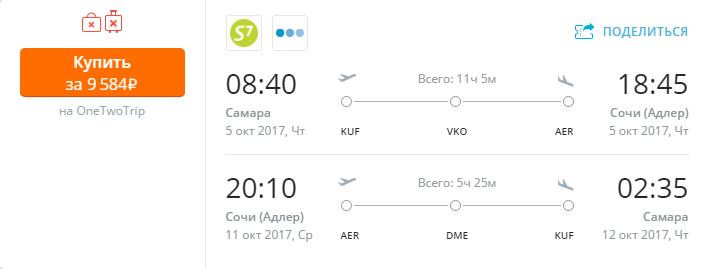 Дешевые авиабилеты Самара - Сочи / Сочи - Самара