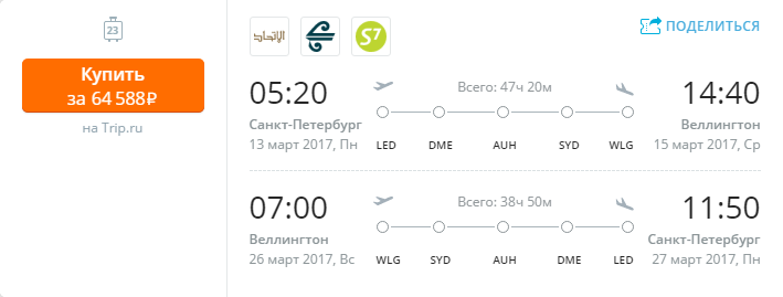 Дешевые авиабилеты Санкт-Петербург - Веллингтон (Новая Зеландия)
