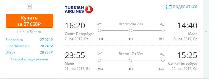 Дешевые авиабилеты Санкт-Петербург - Мале (Мальдивы)