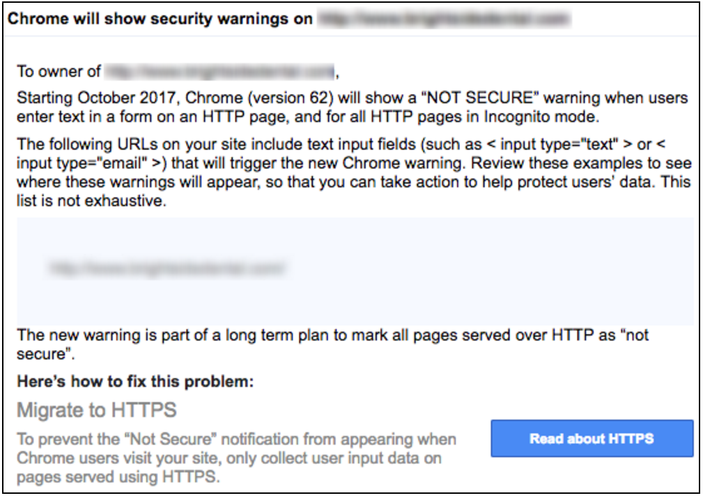 Google's message about SSL requirements