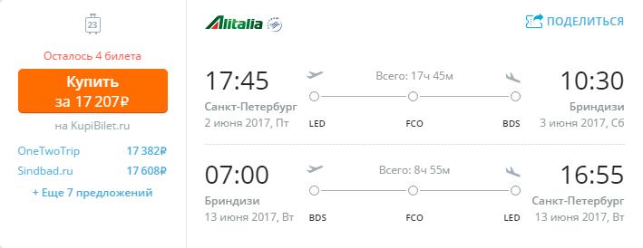 Дешевые авиабилеты Санкт-Петербург - Бриндизи (Италия)
