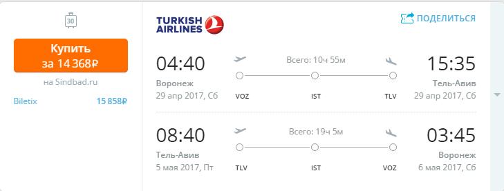 Дешевые авиабилеты Воронеж - Тель-Авив (Израиль)