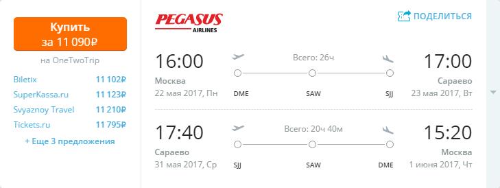 Дешевые авиабилеты Москва - Сараево (Босния и Герцеговина)