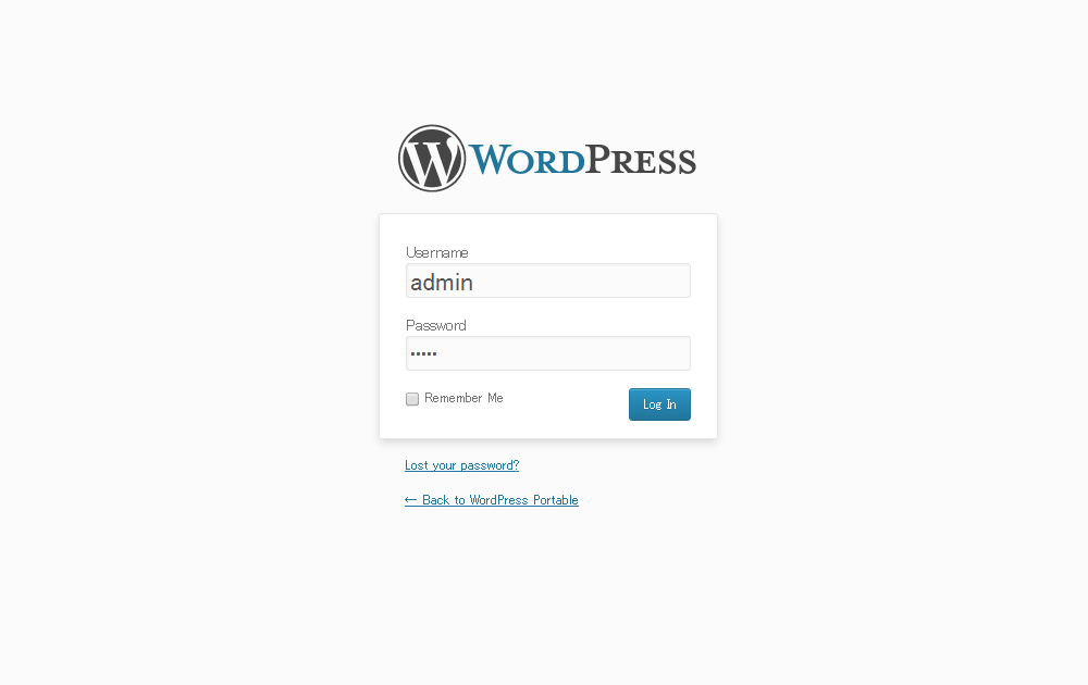 wordpress portable login