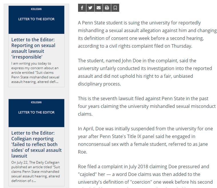 Campus newspaper secretly revised Title IX article after pro-accuser