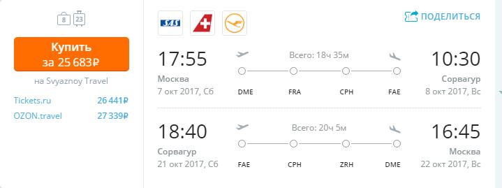 Дешевые авиабилеты Москва - Сорвагур (Фарерские острова)