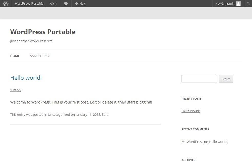 wordpress portable top