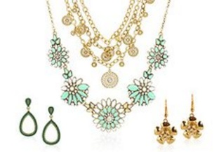 Photo of sparkling sage jewelry from the beauty care section.
