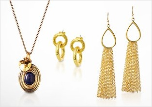 Photo of gold jewelry from the beauty care section.