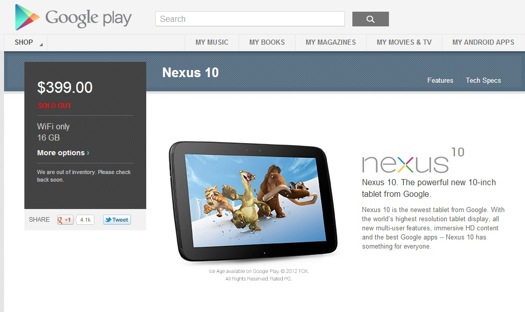 Nexus 10 (16GB) - Google Play