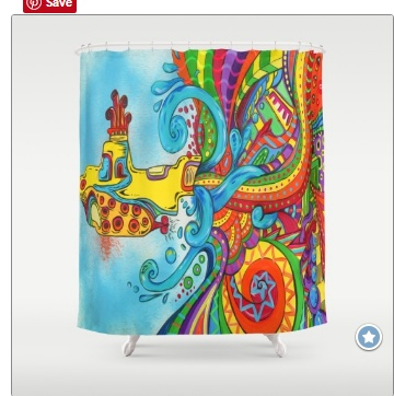 Live in a Yellow Submarine Shower Curtain