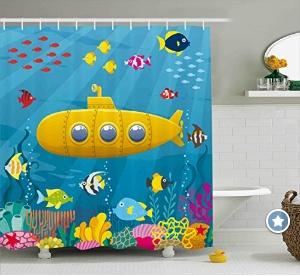 Under the Sea Kid's Yellow Submarine Shower Curtains