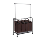 Best Heavy Duty Quad Laundry Sorter with Hanging Bar