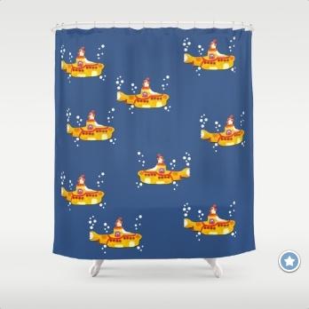Yellow Submarine Shower Curtains