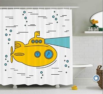 KId's Yellow Submarine Shower Curtain for the Bathroom