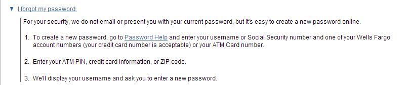 Retrieve Wells Fargo password