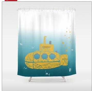 Unique Yellow Submarine Shower Curtain