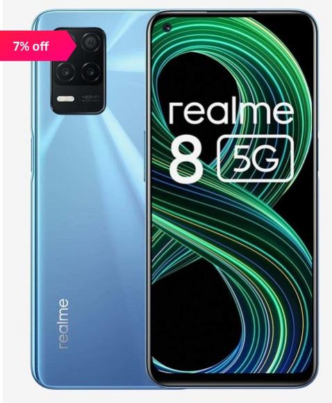 [For ICICI Card] realme 8 128 GB (Supersonic Blue) 8 GB RAM, Dual SIM 5G