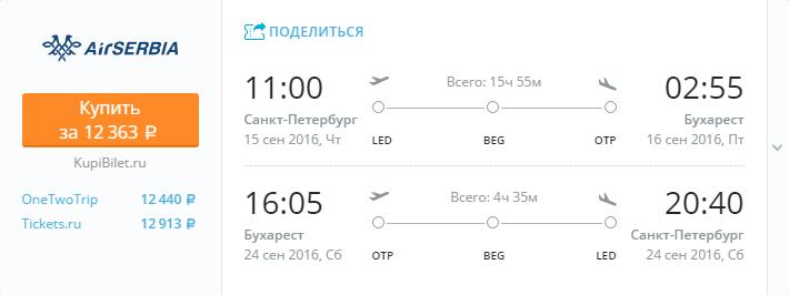 Дешевые авиабилеты Санкт-Петербург - Бухарест (Румыния)