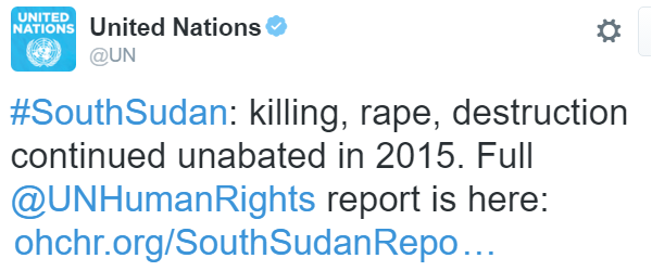 "United Nations su Twitter: ""#SouthSudan: killing, rape, destruction continued unabated in 2015. Full @UNHumanRights report is here: https://t.co/DDuqDq32XX"""