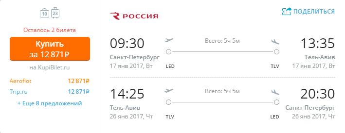 Дешевые авиабилеты Санкт-Петербург - Тель-Авив (Израиль)