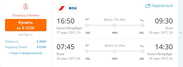 Дешевые авиабилеты Санкт-Петербург - Осло