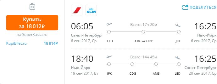 Дешевые авиабилеты Санкт-Петербург - Нью-Йорк (США)