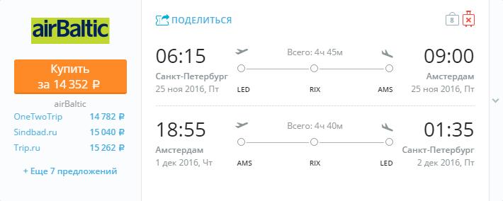 Дешевые авиабилеты Санкт-Петербург - Амстердам (Нидерланды)