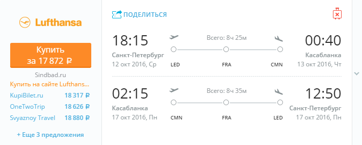 Дешевые авиабилеты Санкт-Петербург - Касабланка (Марокко)