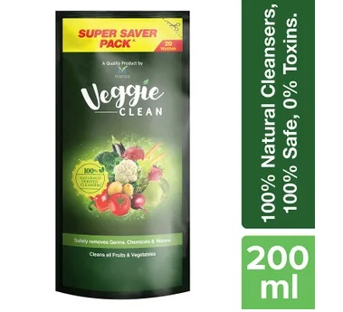Veggie Clean Fruits & Vegetables Washing Liquid, Removes Germs, Bacteria, Chemicals & Waxes (200ml)