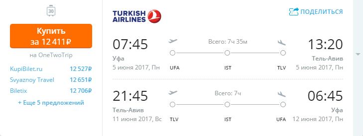 Дешевые авиабилеты Уфа - Тель-Авив (Израиль)