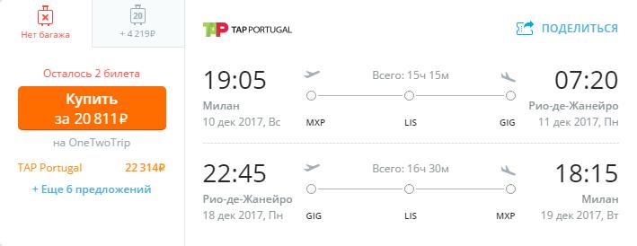 Дешевые авиабилеты Милан - Рио-де-Жанейро (Бразилия)