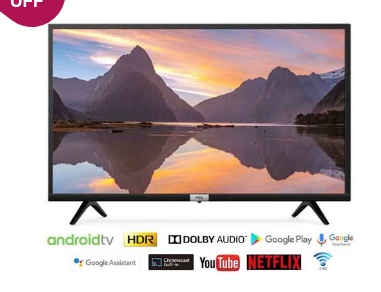TCL 81.28 cm (32 Inches) Android Smart HD Ready LED TV 32S5200 (Black)