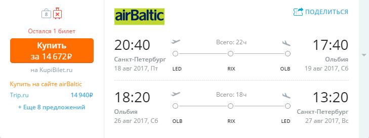 Дешевые авиабилеты Санкт-Петербург - Ольбия (Сардиния / Италия)