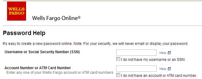 Wells Fargo password help