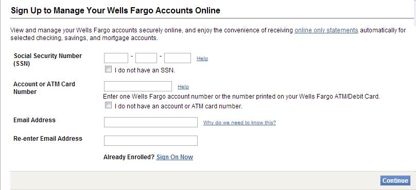 Wells Fargo online access